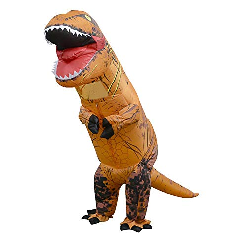 Foru-1 aufblasbares Dinosaurier-Kostüm T-Rex Kinder Kleid Cosplay Anzug für Kinder 130–160 cm (hellbraun)