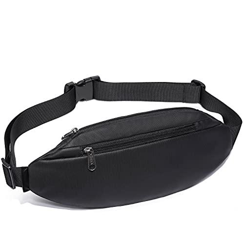 Fanny Pack for Men Women Waterproof Black Running Fashion Waist Packs with 2-Zipper Pockets for Hiking Travel Hands-Free Unisex Sling Bag Crossbody Shoulder Bag Chest Bag