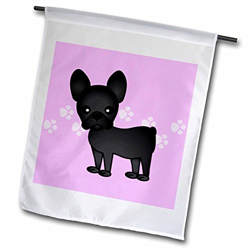 3dRose fl_25319_1 Garden Flag, 12 by 18-Inch, Cute Black Brindle French Bulldog Pink with Pawprints