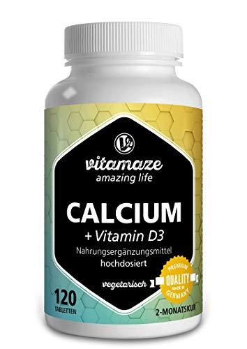 Calcium + Vitamin D3 hochdosiert, 600 mg Kalzium Carbonat + 400 IE Cholecalciferol pro Tagesdosis, 120 vegetarische Tabletten für 2 Monate, Nahrungsergänzung ohne Zusatzstoffe, Made in Germany