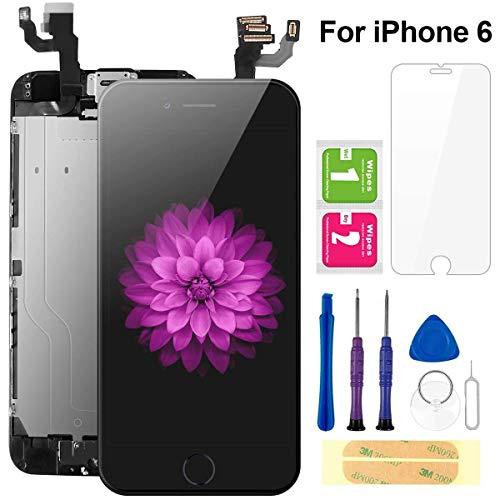 FLYLINKTECH Für iPhone 6 Display Schwarz, Ersatz Für LCD Touchscreen Digitizer vormontiert mit Home Button, Hörmuschel, Frontkamera Reparaturset Komplett Ersatz Bildschirm mit Werkzeuge