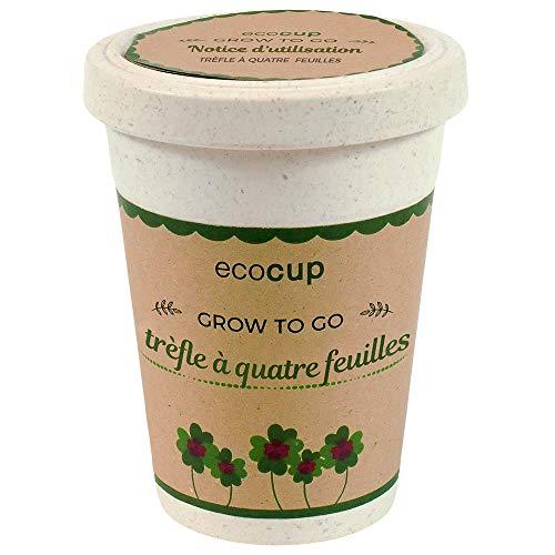 Feel Green Ecocup, Trèfle À Quatre Feuilles, Idée Cadeau (100% Ecologique), Grow-Your-Own/Kit Prêt-à-Pousser, Plantes Dans Coffee Cup 10 x 8 cm, Produit En Autriche