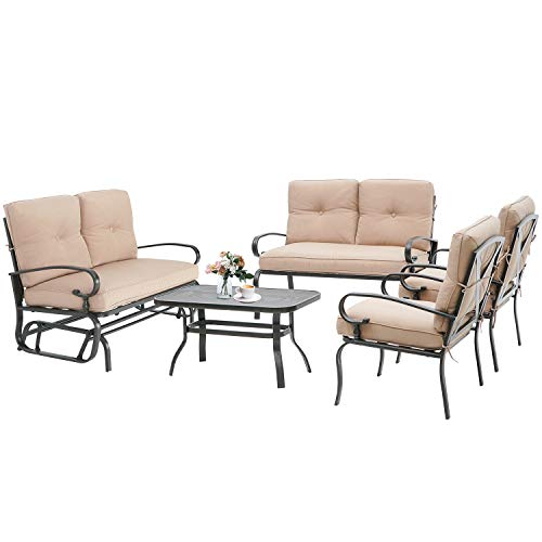 Incbruce Outdoor Indoor Furniture 5Pcs of 6 Seats Patio Conversation Set (Swing Glider, Loveseat, Coffee Table, 2 Lounge Chairs) Swing Glider Chair and Steel Frame Chair Sets, Brown Cushion