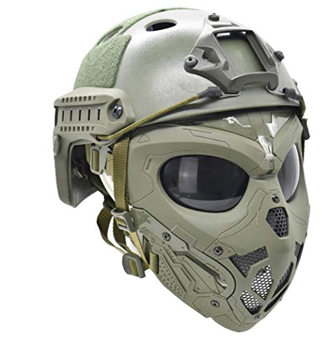 Jadedragon Tactical Airsoft Mask with PC Lens and PJ Type Tactical Helmet with Double Wearing Mode Mask for Airsoft Paintball, Halloween, Cosplay, Costume Party and Movie (Green Helmet+mask )