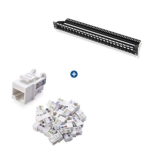 Cable Matters Rack or Wall Mount 24-Port Cat6, Cat 6 Keystone Patch...