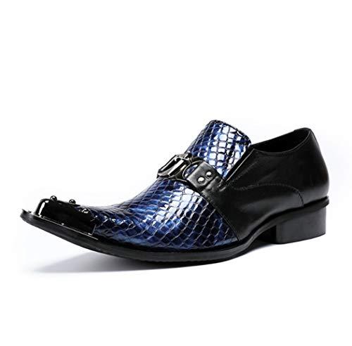 AZLLY Botas de Tobillo clásicas para Hombre Botas de Charol a Cuadros Puntiagudos Botas Casuales Zapatos de Vestir de diseño Italiano para una Gran elección de Regalo,Azul,44EU