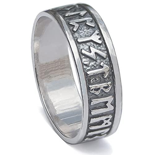 Viking Rune Band Ring Sterling Silver 925 Elder Futhark Nordic Runic Symbols Pagan Celtic Wedding Thumb Rings Norse Scandinavian Jewelry for Men Women (14.5)