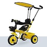 Bicicletas Triciclos La Mano De Empuje De Los Niños De Tres Ruedas Aire Libre del Ocio Preescolar For Niños Moto Niño De Los Niños (Color : Yellow, Size : 70x50x57cm)