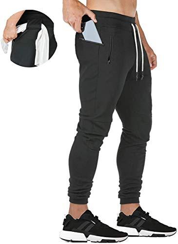 Lachi Pantaloni sportivi da uomo, pantaloni della tuta causale da allenamento, palestra, tasche con cerniera Nero XL