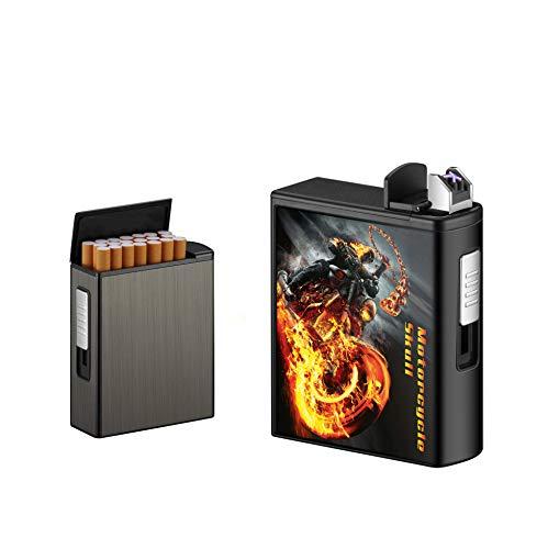 con Mechero Estuche de Cigarrillos de USB Recargable Caja de Cigarrillos,sin Llama...