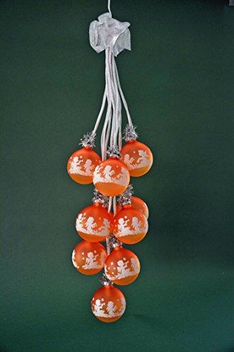 yanka-style Glaskugelgehänge Kugelgehänge Glas Leuchter Engel sienne/Safran 10flammig beleuchtet ca. 65 cm lang Weihnachten Advent Geschenk Dekoration (41047)