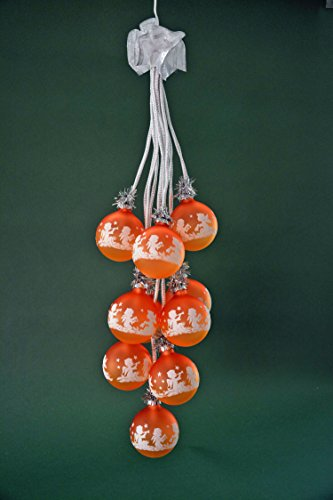 """Glaskugelgehänge Kugelgehänge Glas Leuchter \""""Engel\"""" sienne / safran 10flammig beleuchtet ca. 65 cm lang Weihnachten Advent Geschenk Dekoration (41047)"""
