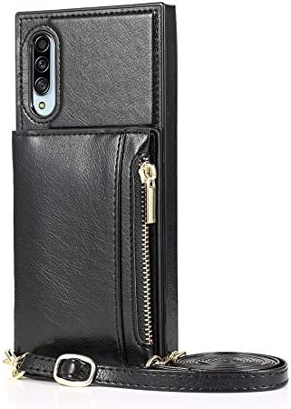 Case for Samsung Galaxy A90 5G, Zipper Wallet Case with Credit Card Holder/Crossbody Long Lanyard, Shockproof Leather TPU Case Cover for Samsung Galaxy A90 5G (Color : Black)