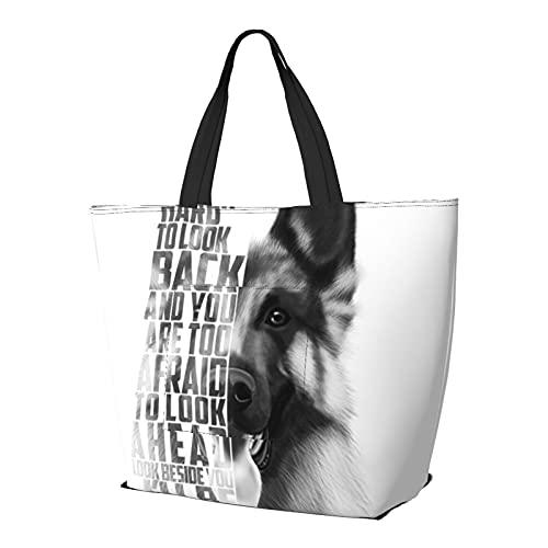 Deutscher Schäferhund Zitat Text Schultertasche Multifunktionale Große Kapazität Handtasche Tablet Taschen Leichte Arbeit Tote Bag Weekender Reisetasche Strandsack für Frauen