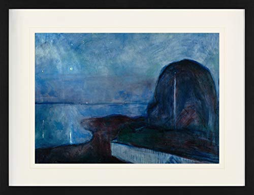 1art1 Edvard Munch - Sternennacht, 1893 Gerahmtes Bild Mit Edlem Passepartout   Wand-Bilder   Kunstdruck Poster Im Bilderrahmen 80 x 60 cm