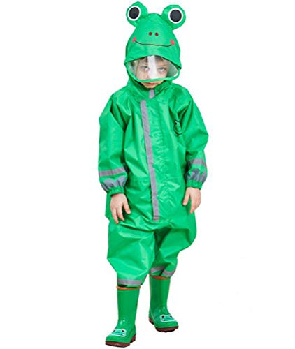 Maleroads Kids Waterproof Rainsuit All in One Puddle Suit Raincoat for Boys and Girls Puddlesuit Green