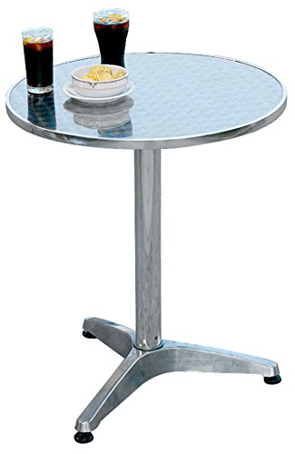 PEGANE Table Jardin en Aluminium et Plateau en Acier - A Usage Professionnel- Dim : H 71 x Ø 60 cm
