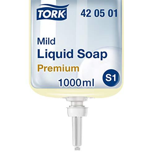 Tork 420501 Savon liquide Premium pour mains S1 / doux - 1L - Jaune clair