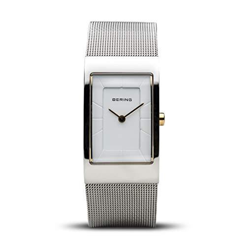 BERING Damen Analog Quarz Classic Collection Armbanduhr mit Edelstahl Armband und Saphirglas 10222-010-S