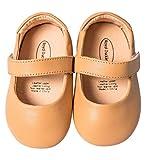 Mowoii Baby Girls Boys Leather Mary Jane Walking Shoes Prewalker Princess Wedding Dress Shoes Ballet Flats,Brown 9-12 Months/16
