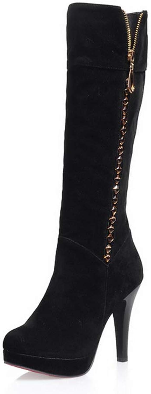 Women Knee High Boots Fashion Slip On Platform Zipper Rhinestone Thin High Heels Round Toe Woman Simple