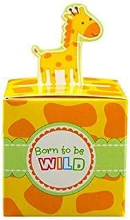 Adorox Small 24 Pcs Born To Be Wild Adorable Jungle Safari Zoo Theme Baby Shower Favor Candy Treat Box Cute Birthday Decoration (Giraffe (24 Pieces))