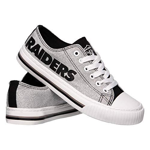 NFL Oakland Raiders Womens Ladies Glitter Low Top Canvas Sneaker Shoesladies Glitter Low Top Canvas Sneaker Shoes, Team Color, 7/Medium