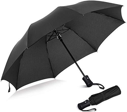 LEBEXY Regenschirm | Taschenschirm | Sturmfest Automatik Reise Schirm | Klein Stabil Umbrella Windfest (Schwarz)