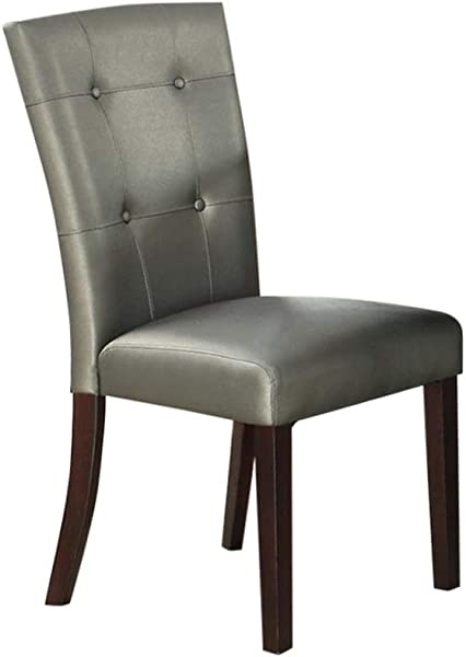 Benjara Benzara BM171561 Leatherette Dining Chair With Tufted Back Set Of 2 Gray