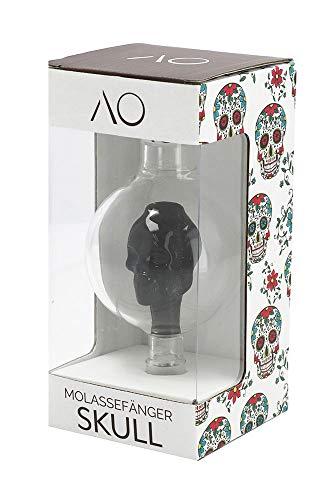 AO® Shisha Molassefänger Skull I Molassefänger aus Glas mit eingearbeiteten Totenkopf (Schwarz) I Shisha Molassefänger 18/8 Schliff I Shisha Zubehör I Vorkühler-Aufsatz für Wasserpfeife