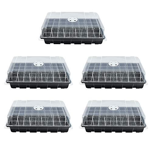5PCS Bac à Semis intérieur Mini Serre Jardin 40 Cellules, Bac pour Semi avec Couvercle Respirant, Bac de semis Plateaux à Semis de Culture Hydratant et Préservant Chaleur (Noir, 40 Cellules)