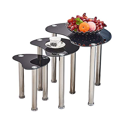 HomeSailing EU Small Glass Nesting Table Nest of 3 End Table with Stainless Steel Legs Set of 3 Coffee Sofa Side Table for Livingroom Bedroom Office Nested Table Black
