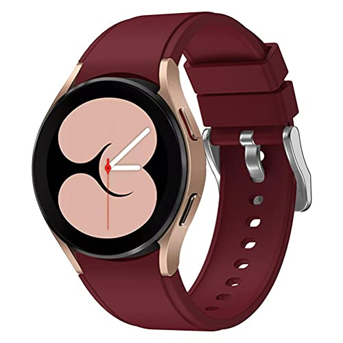 Wisvis Brazalete deportivo de silicona, compatible con la pulsera de 40/42/44/46 mm de Samsung Galaxy Watch4 Classic flexible y resistente al desgaste., rojo vino,