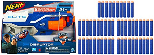 Nerf Disruptor Elite Blaster -- 6-Dart Rotating Drum, Slam Fire, Includes 6 Official Elite Darts -- for Kids, Teens, Adults with 50 Extra Elite Darts Pack