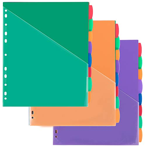 MAKHISTORY Plastic 8-Tab Dividers with Front Pockets, Insertable Binder Dividers for 3-Ring Binders, Multi-Color Pocket Dividers, Total 24 Tabs