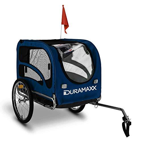 Duramaxx - King Rex, Fahrradanhänger, Hundeanhänger, Lastenanhänger, kleine bis mittelgroße Hunde, Laderaum: 250L Volumen, Belastung:max.40kg, Kugel-Kupplung für Fahrräder mit 26\' -28\'\', blau
