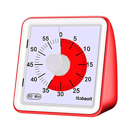 Yunbaoit Visual Analog Timer,Countdown Clock,No Loud Ticking,Time Management Tool for Kids and Adults(Red)