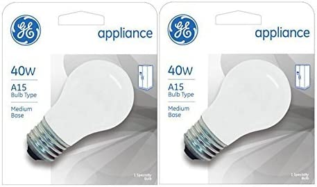 GE Appliance A15 Light Bulb Inside Frost 40 Watt 355 Lumens Medium Base 3 1 2 Inches 2 Pack product image