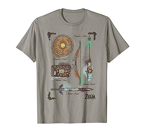 Zelda Breath of The Wild Link Inventory Graphic T-Shirt T-Shirt Cotton tee S Sand Color