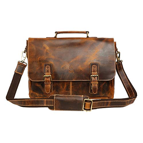 16 inch Genuine Leather Briefcase Bag - Crossbody Laptop Satchel by Rustic Town (Brown)