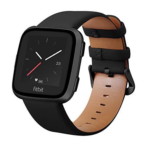 KADES Kompatibel für Fitbit Versa Armband, Echtleder-Armband mit Schnellverschluss-Pin Kompatibel für Fitbit Versa 2 Armband, für Versa Lite Edition Armband Männer Frauen, Schwarz