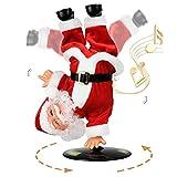 SdeNow Singing Dancing Santa Claus, Christmas Inverted Rotating Santa Claus Xmas Electric Musical Dolls Electric Plush Toy Ornaments Xmas for Kids