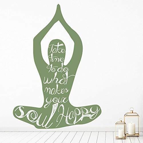 WERWN Las calcomanías de Pared de Yoga Hacen Que su Alma Sea Feliz Citas para Puertas y Ventanas Pegatinas de Vinilo para Ventanas meditación de Yoga murales de Arte Decorativo Interior