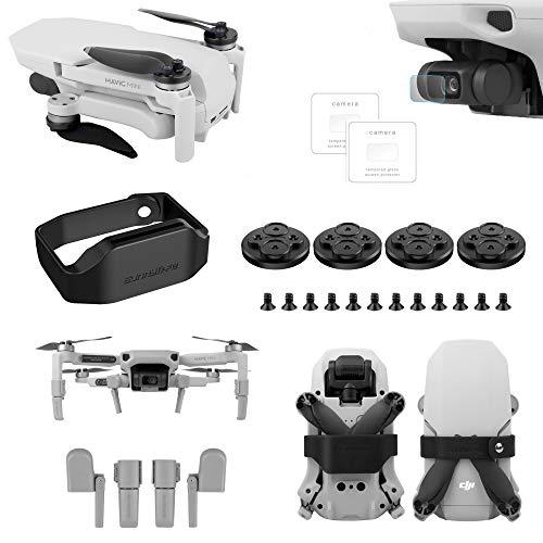 Tineer para dji Mavic Mini Drone - Película Protectora de la Lente + Clip de Paleta de fijación de Bloqueo de hélice + Tren de Aterrizaje extendido + Tapa del Motor a Prueba Polvo (Negro)