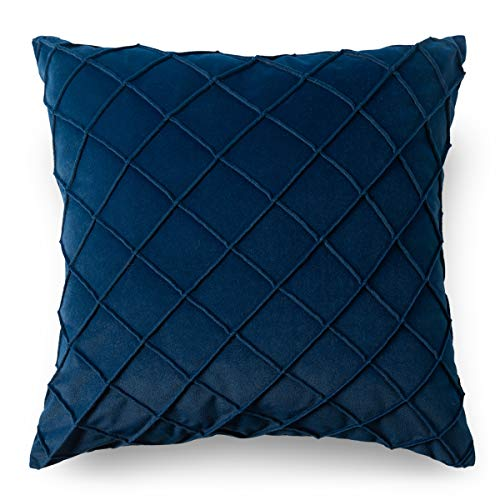 PLWORLD Decorative Throw Pillow Covers 20 x 20 inch, Velvet Pleated Soft Square Cushion Cases for Couch Bedroom, 1 PC, Navy Blue
