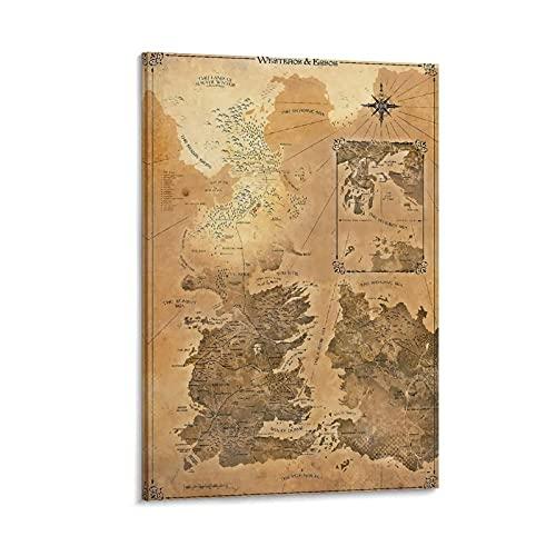 Póster de mapa del Señor de los Anillos de la Tierra Media, impresión en lienzo de Mordor, impresión artística de LOTR, regalo LOTR, pintura decorativa de pared de 20 x 30 cm