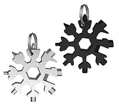 18-in-1 Snowflake Multi-Tool, Stainless Steel Snowflake Keychain Tool Flat Phillips Screwdriver Kit, Durable and Portable to Take(Black and Silver)