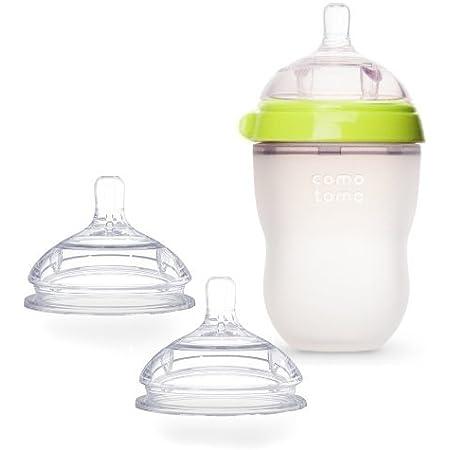 Comotomo Natural Feel Bundle - 2 Items: Green 8 oz Baby Bottle, Extra Pack Medium Flow Nipples