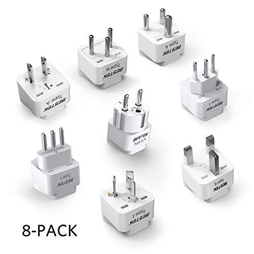 BESTEK Worldwide Travel Plug Adapter Set, Grounded Universal Power Plug Adapter for USA to US, EU, AU, UK, GE, HK and More- 8 Packs