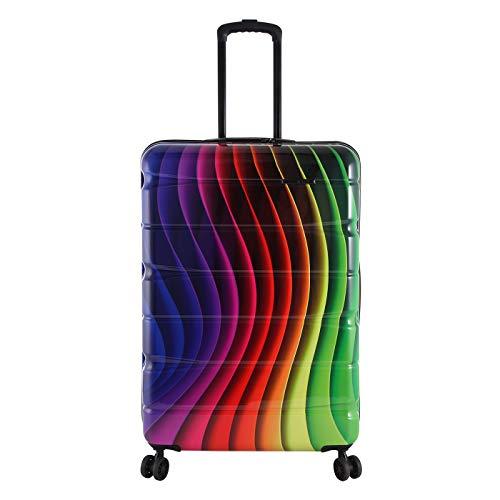 Rada Aero Vortex Reisekoffer, Hartschale aus ABS, klein, mittel, groß, Kofferset, Trolley mit Motiv, TSA-Schloss und 4 Rollen (Rainbow, L | 76 cm)
